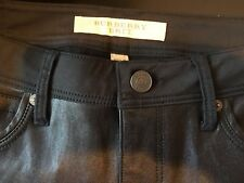 NEW BURBERRY LEATHER SKINNY MID RISE BLACK PANTS SIZE 29  POCKETS