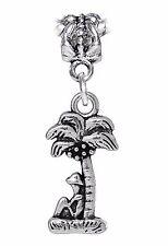 Sitting Under a Palm Tree Beach Vacation Dangle Charm fits European Bracelets