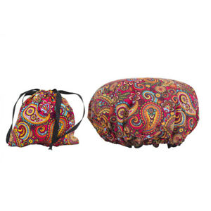 Dilly's Collections Shower Cap With Satin Bag Hair Care Travel Set Retro Design