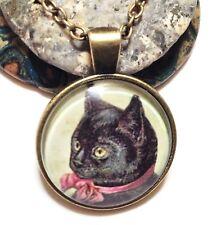 "PRETTY BLACK CAT_Bronze Glass Pendant 18"" Chain Necklace_Kitten Pet Halloween"