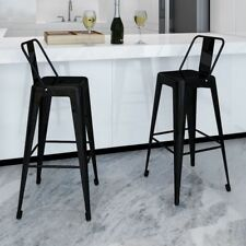 2pc Black Bar Stool Steel Kitchen Dining Chair Square Back Cafe Home Office Seat