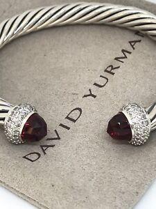 David Yurman Cable Candy 925 Silver  Garnet & Diamond 7mm Bracelet