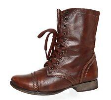 Steve Madden Troopa Leather Boot Brown Women Sz 7.5 M 4018 *