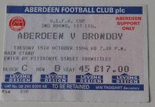 Ticket for collectors EC Aberdeen FC Brondby Copenhagen 1996 Scotland Denmark