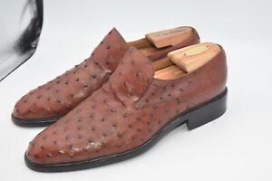 Moreschi Ostrich Italy Shoes Brown MEN'S SZ 7.5 fit US 9.5