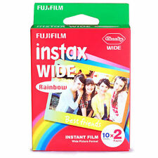 RAINBOW FUJI INSTANT FILM INSTAX WHITE WIDE FILM 1 PACK (20PCS) FOR 210 200 300