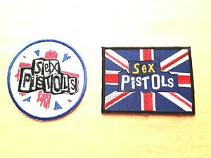 TWO SEX PISTOLS PATCHES SEW / IRON ON CLASSIC ROCK MUSIC (c)