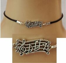 Music Notes Choker Silver Chain Necklace Handmade Adjustable Fashion Women