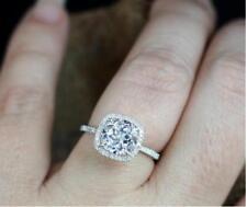 1.50 CT Round Cut Aquamarine 14k White Gold Over Diamond Halo Engagement Ring