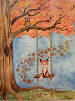 Original Painting woodland Folk Art