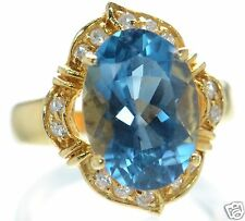 Gold Over Solid 925 Sterling Silver Oval Genuine Blue Topaz Ring Sz- 7 '