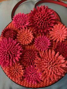 Kate Spade Montigo Avenue Lacquer Red Floral Circle Crossbody Shoulder Bag