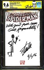 💥AMAZING SPIDER-MAN #1 CGC SS 9.6 STAN LEE SIGNED SKETCH DATE QUOTE COMMENT 1/1