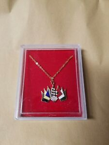 Ladies novelty multi-colored checkered flag set  Necklace