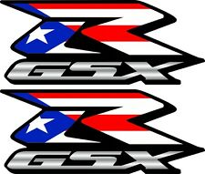 2 Custom Puerto Rico Rican GSXR Decals Stickers 600 750 1000 hayabusa 1300 Flag