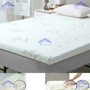 """2"""" Bamboo Memory Foam Bed Mattress Topper Soft Thick 5cm All UK Sizes 2, 1 inch"""