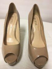 Guess Heels Pumps 8.5 M Nude Blush Platform Peep Toe