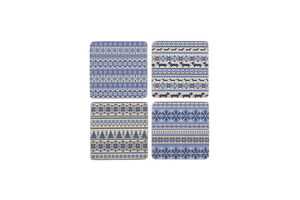 Set 4 French Shabby Chic Ceramic Tile Coasters Nordic Blue Design SALE!!
