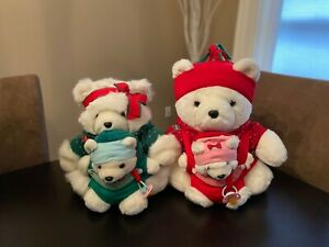 Dayton Hudson's/Marshall Field 2002 Mr. & Mrs. Santa Bear With Babies Plush Lot