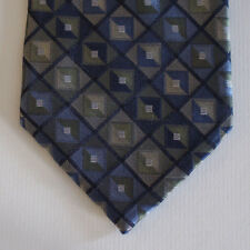 NEW Croft & Barrow Silk Neck Tie Dark Blue w Olive Green & Beige Pattern 1569