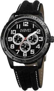 August Steiner AS8116BK Day Date GMT 30M WR Leather Strap Black Mens Watch