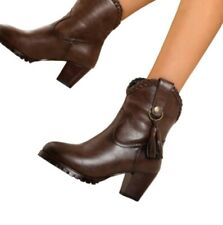 Ladies Chelsea Ankle Boots Womens Chunky Mid Heel Smart Office Work Shoes Punk D