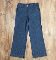 Apostrophe Womens Sz 10 Wide Leg Jeans Cotton Lyocell Wide Waistband Waist 35