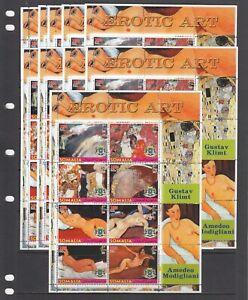 Klimt Nude Nudes Painting Arts 2005 Somalia MNH 8 v set perf X 10 Wholesale lot