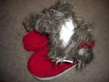Luxe Knit Collection red cable knit slipper boots & ties w/faux fur trim NWT M