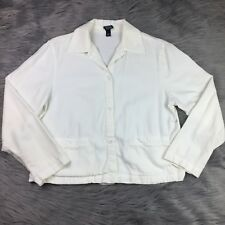 Eileen Fisher White Button Down Long Sleeve Shirt Jacket Small Flawed Casual