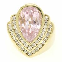 14k Yellow Gold Bezel Pear Morganite & Diamond Channels 8.05ctw Large Ring