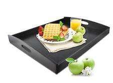 Serviertablett XXL Schwarz Betttablett Holztablett Frühstückstablett Tablett