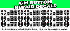 9 Sets GM GMC CHEVROLET BUTTON REPAIR DECAL STICKER TAHOE SIERRA ENVOY