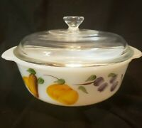 Vintage Anchor Hocking Fire King 1 1/2 Quart Covered Casserole Dish Pears & Grap