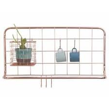 Copper Wire Kitchen Rack wall hook hanging rail with Basket herb planter