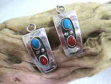 Vintage Sterling Silver Watch Tips Inlaid with Turquoise and Coral Gemstones