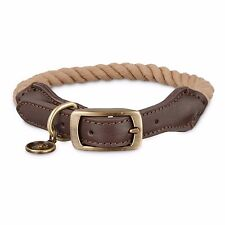 Bond & Co. Natural Rope Dog collar, For Neck Sizes Sizes 12 - 15, Small