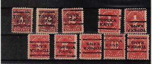JimbosStamps, U.S.precancels,1917 postage due issues , TOPEKA KANSAS