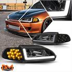 For 92-95 Honda Civic 23-dr Led Drlturn Signal Headlight Clear Corner Smoked