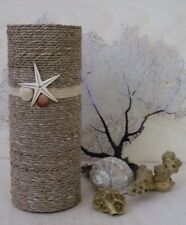 Handcrafted Decorative Floral Glass Vase Nautical Natural Hemp Jute And Seashell