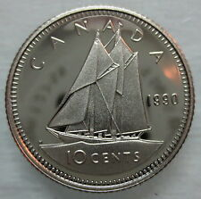 1990 CANADA 10 CENTS PROOF DIME HEAVY CAMEO COIN