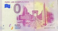 BILLET 0  EURO LES CHAMPS ELYSEES PARIS FRANCE 2018 NUMERO DIVERS
