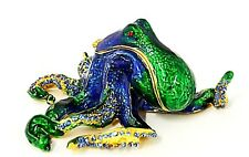 Octopus Trinket Box Made by Hand with Swarovski Crystals & Enamel. Free Shipping