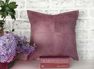 Dusty rose faux nubuck leather piecewise square design pillow cover-1 QTY