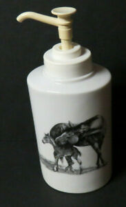 Mare and Colt Horses White Porcelain Pump Soap Dispenser Pencil Sketch VTG 2000