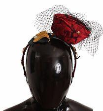 NEW $860 DOLCE & GABBANA Diadem Headband Silk Red Roses Floral Crystal Gold