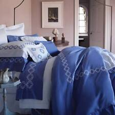 Sferra Cossa 3365 Percale Blue  White Embroidery Queen Duvet Cover Set New