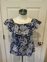 Brooks Brothers Red Fleece Blue & White Paisley/Floral Print Ruffle Top, Size 4