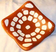 Fused Glass Art Small Bowl Brown White 3.75 Square Artisan Homemade Homemade USA