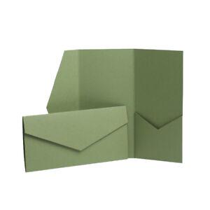 Olive Green Matte Pocket fold Invites. Olive Pocketfold Mid Green Wallet Card DL